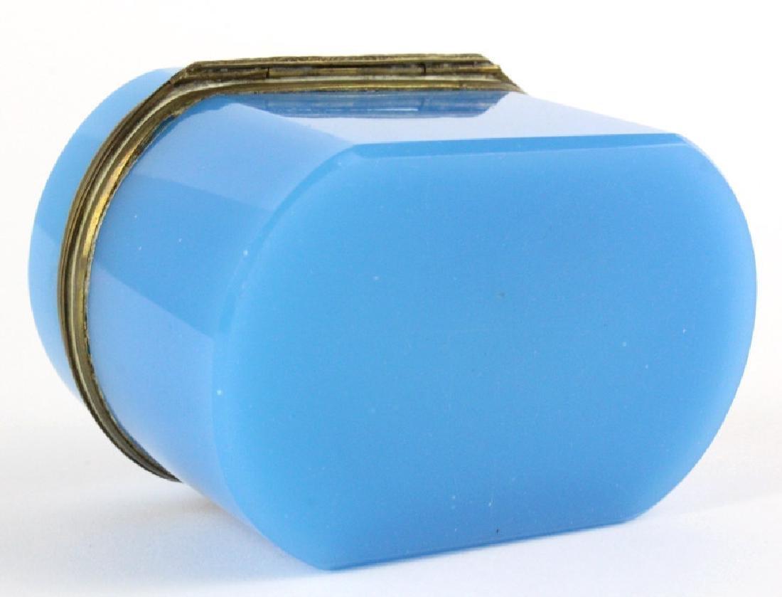 French Blue Opaline Art Glass Jewelry Dresser Box - 7
