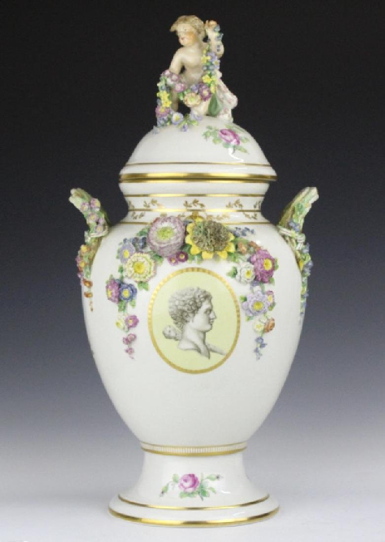 Elaborate Royal Copenhagen Juliane Marie Urn Vase