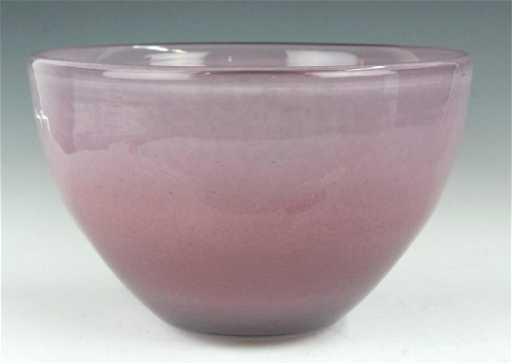Large Henry Dean Studio Art Glass Pink Bowl Vase