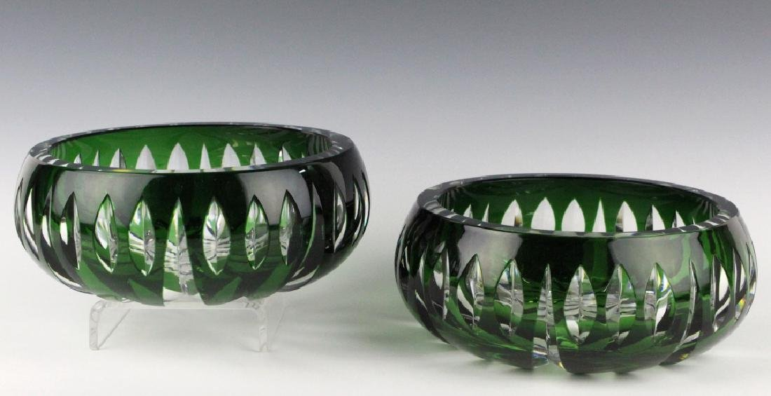 Set of ST LOUIS France Crystal Green to Clear Bowl
