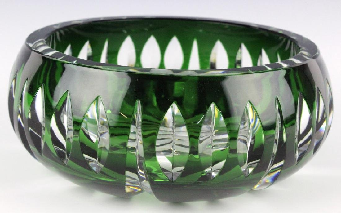 Set of ST LOUIS France Crystal Green to Clear Bowl - 2
