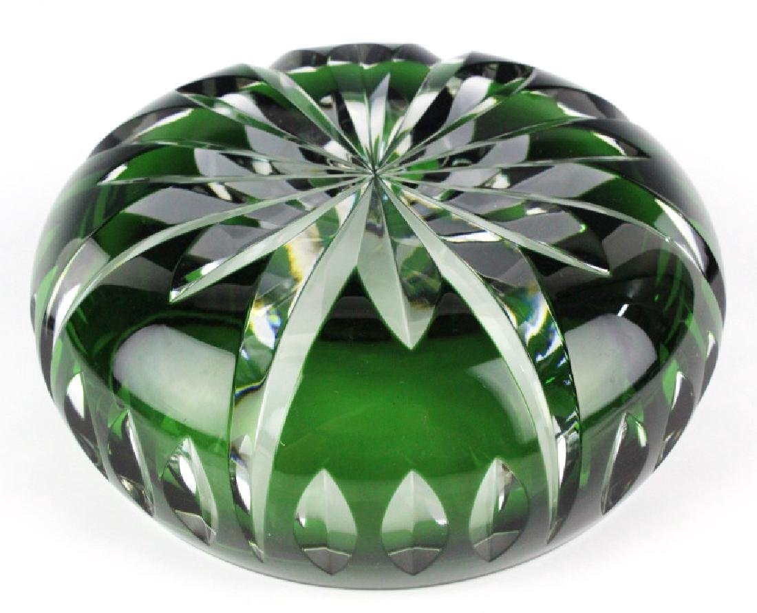 Set of ST LOUIS France Crystal Green to Clear Bowl - 3