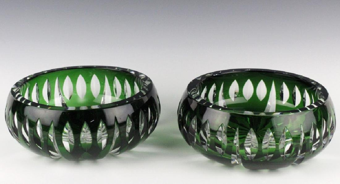 Set of ST LOUIS France Crystal Green to Clear Bowl - 5