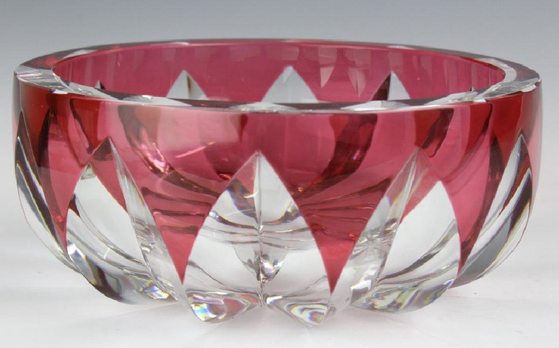 ST LOUIS Crystal Cranberry Cut to Clear Bowl 8 1/2 - 2