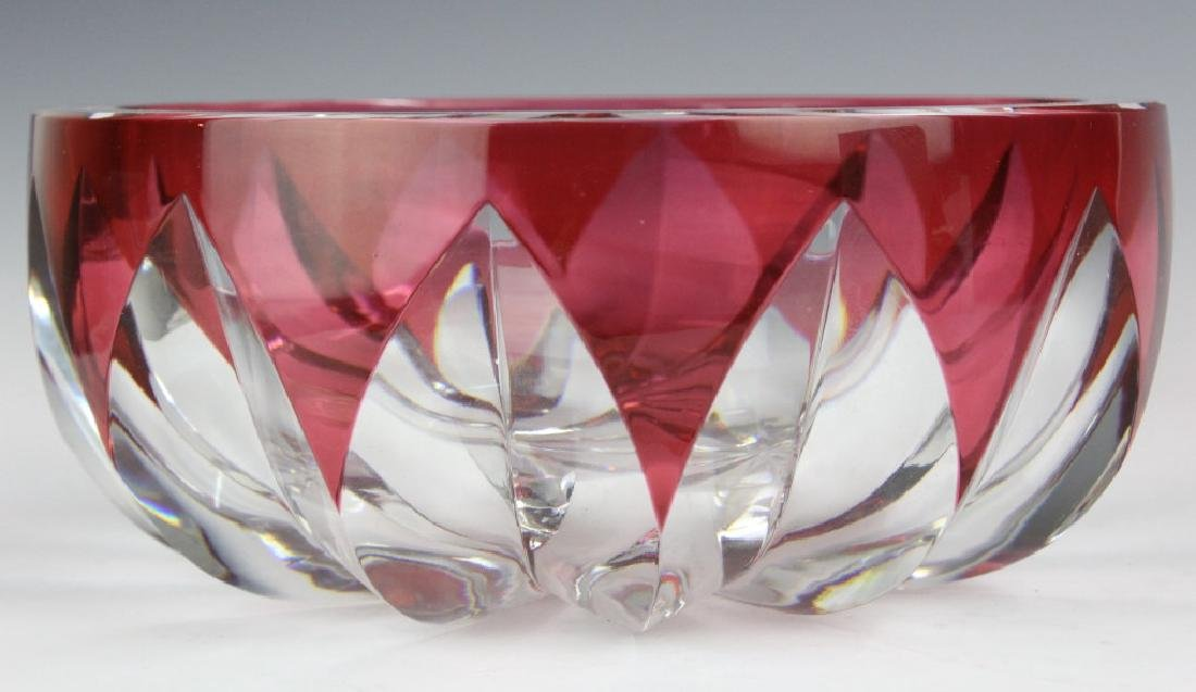ST LOUIS Crystal Cranberry Cut to Clear Bowl 8 1/2 - 3