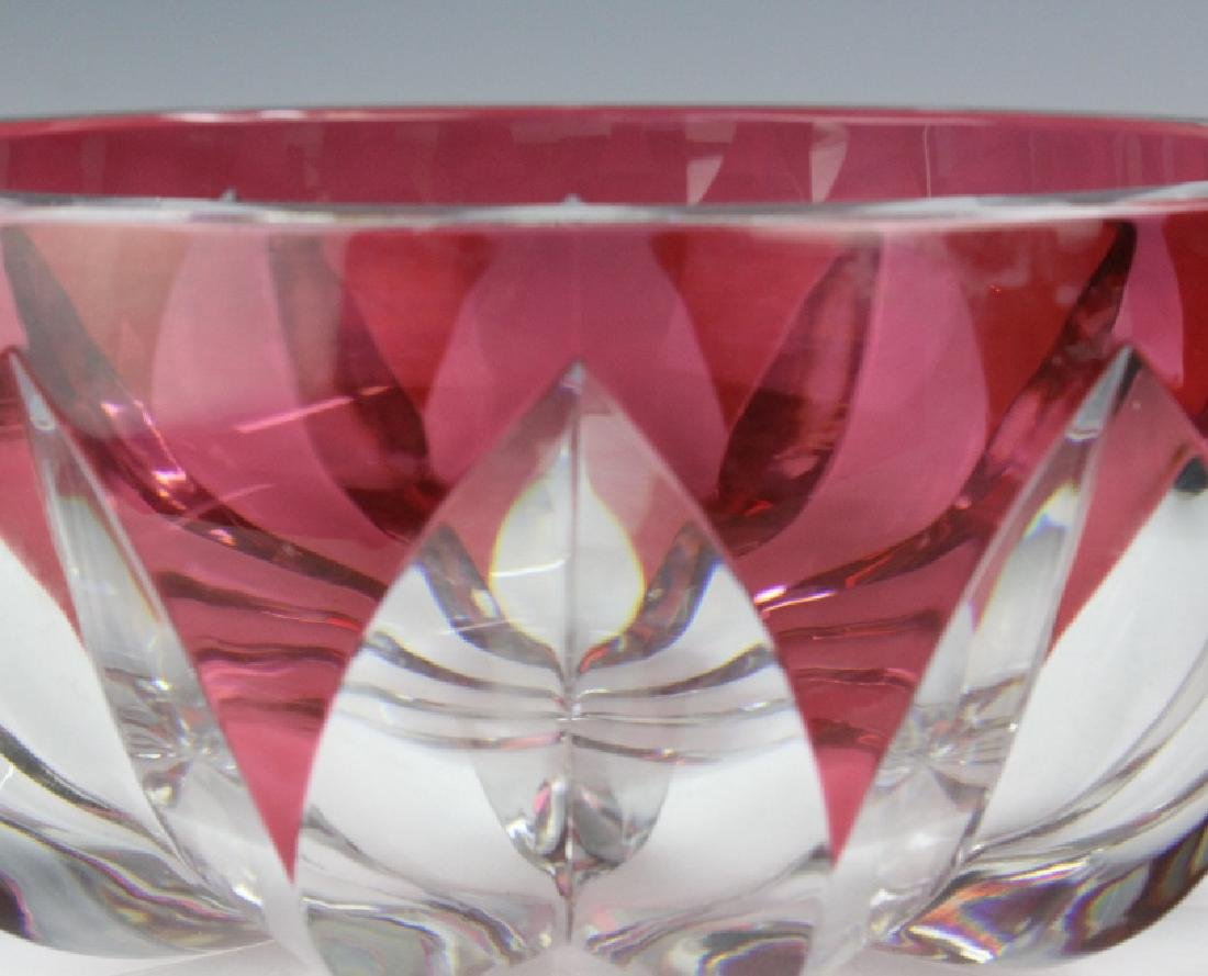 ST LOUIS Crystal Cranberry Cut to Clear Bowl 8 1/2 - 4