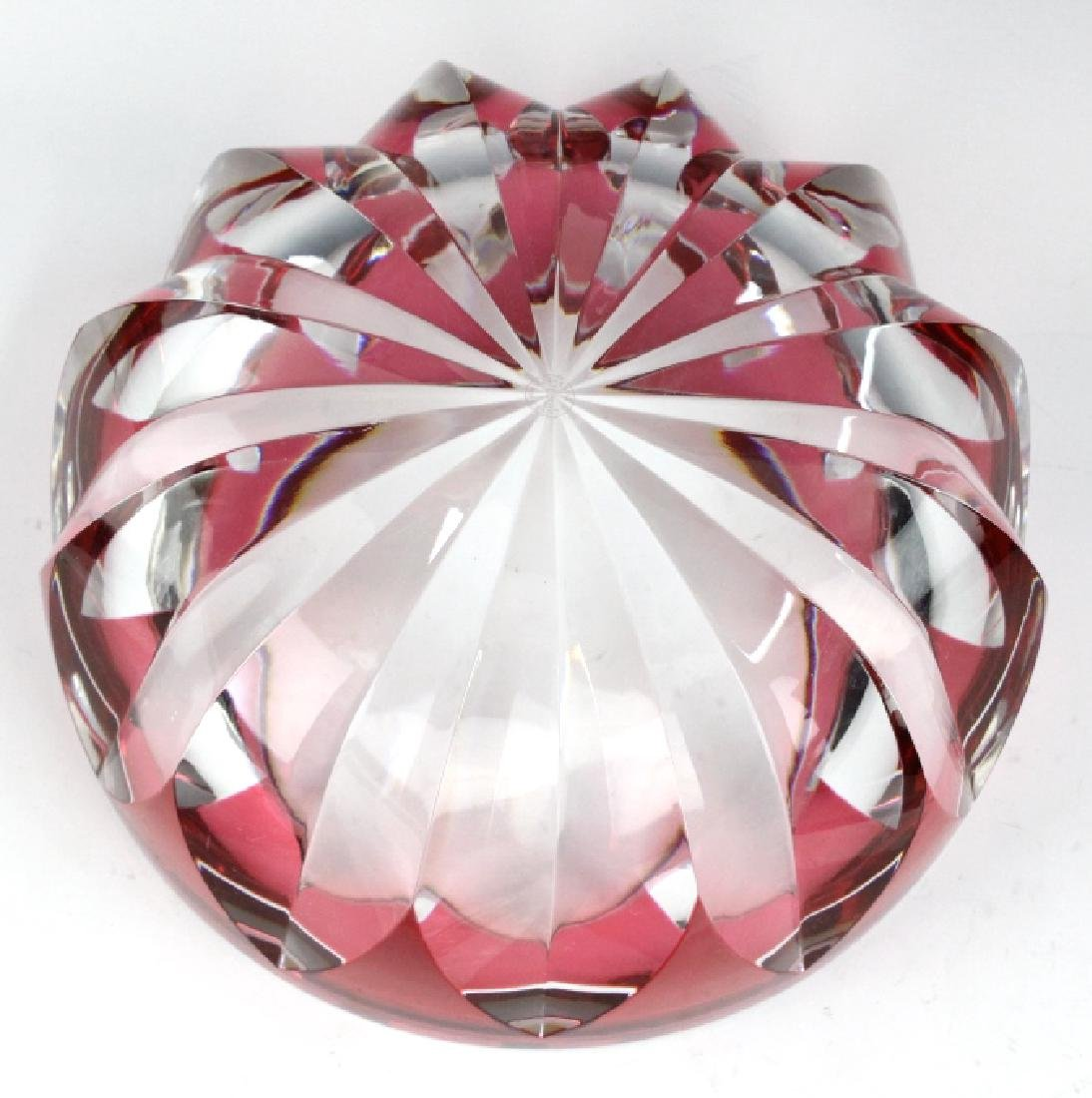 ST LOUIS Crystal Cranberry Cut to Clear Bowl 8 1/2 - 5