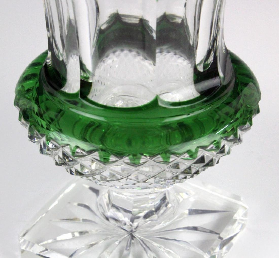 ST LOUIS French Cut Crystal Green Versailles Vase - 8