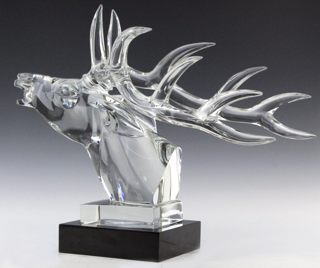 LARGE Baccarat French Art Glass Stag Sculpture