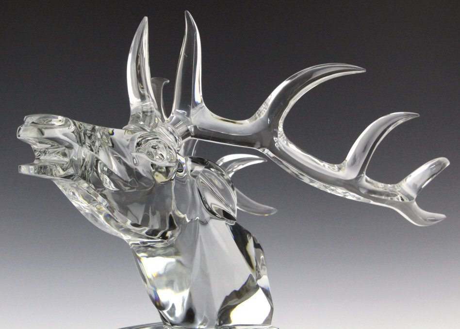 LARGE Baccarat French Art Glass Stag Sculpture - 5