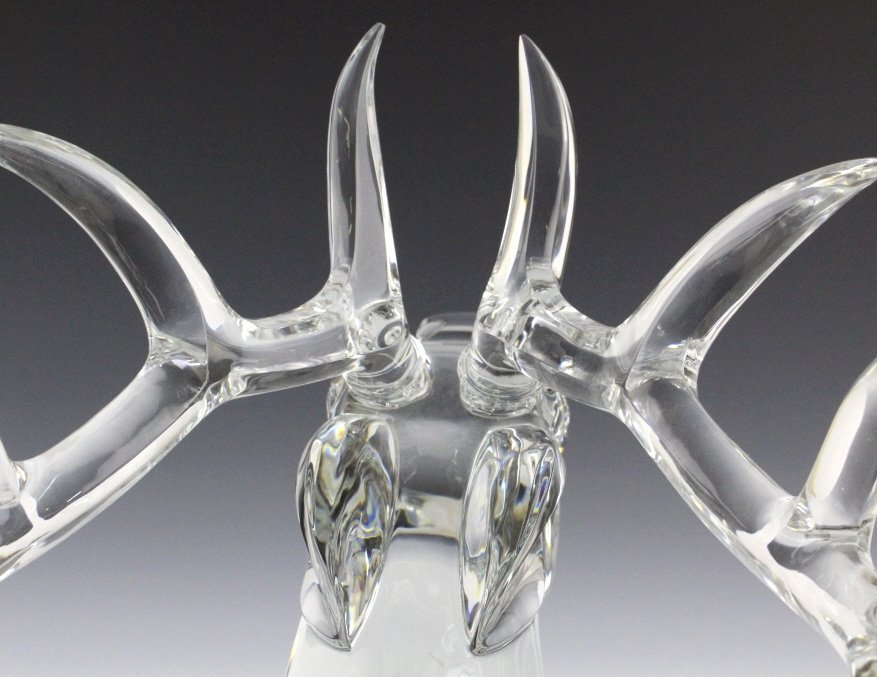 LARGE Baccarat French Art Glass Stag Sculpture - 9