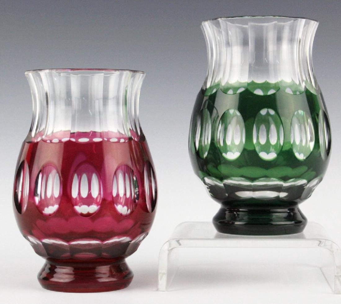VAL ST LAMBERT Cranberry & Green Cut to Clear Vase