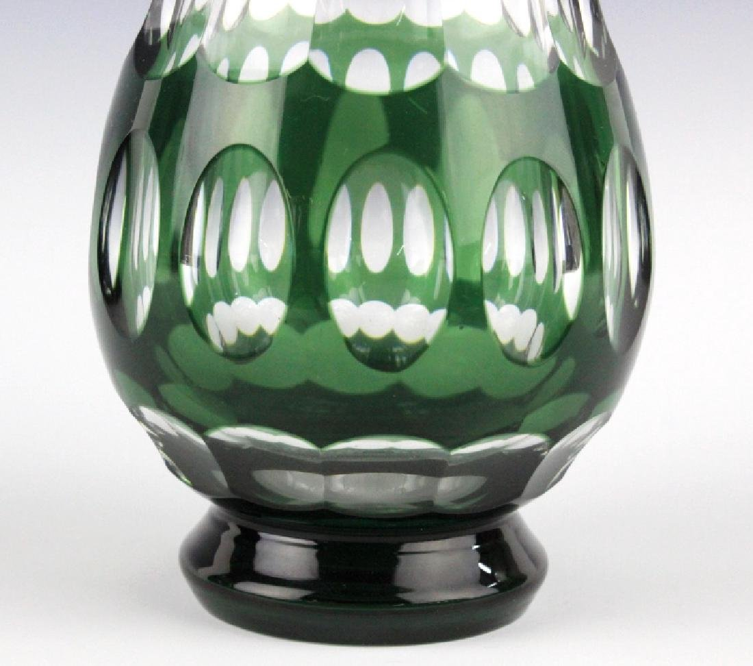 VAL ST LAMBERT Cranberry & Green Cut to Clear Vase - 3