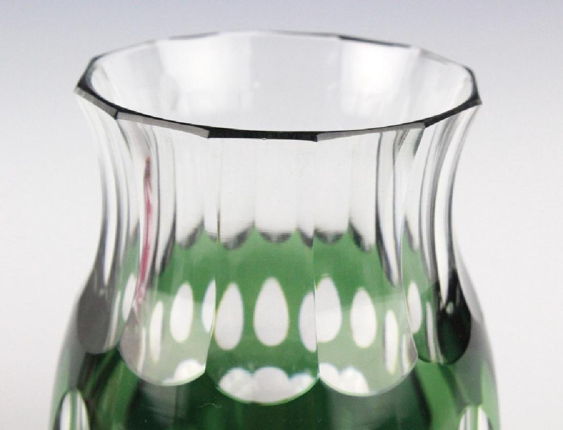 VAL ST LAMBERT Cranberry & Green Cut to Clear Vase - 5
