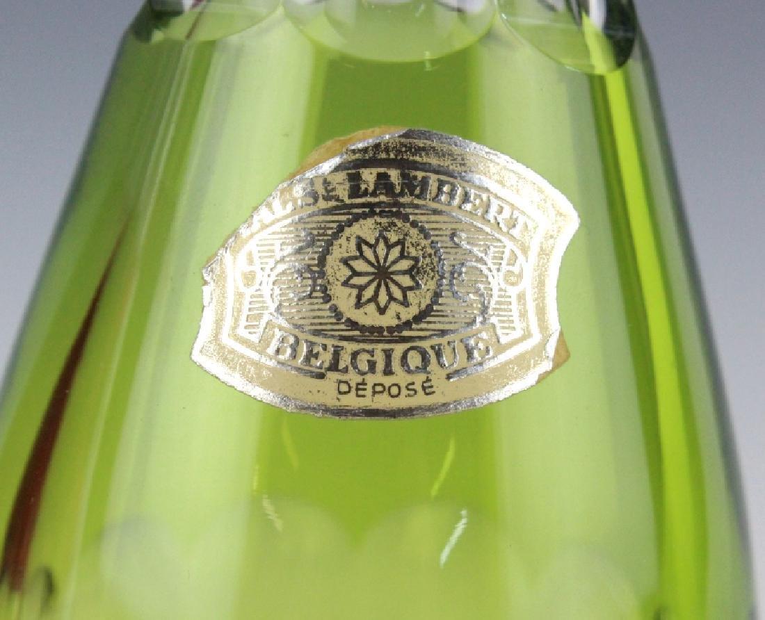 VAL ST LAMBERT Cranberry & Green Crystal Decanter - 6