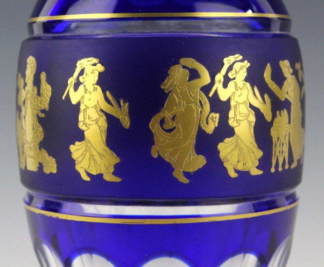 VAL ST. LAMBERT Crystal Cobalt Danse De Flore Vase - 6