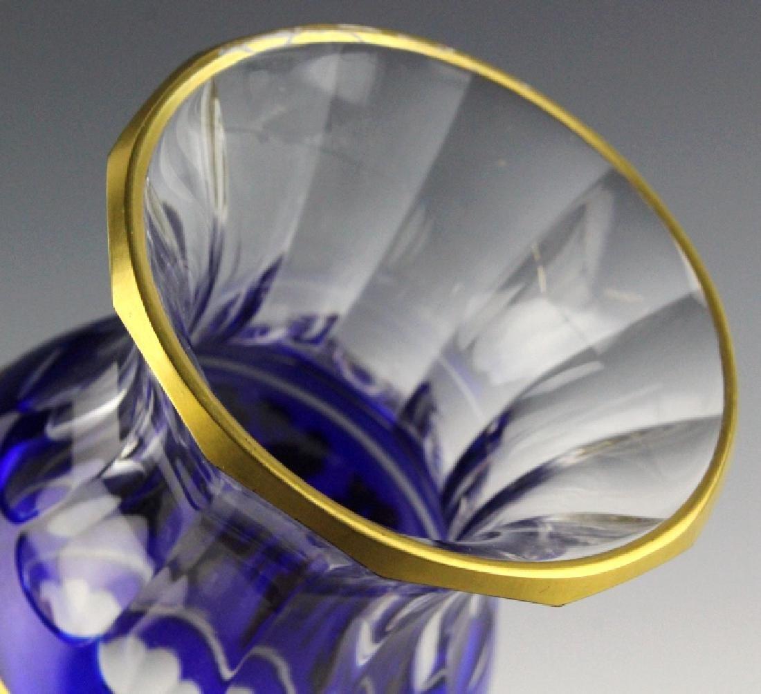 VAL ST. LAMBERT Crystal Cobalt Danse De Flore Vase - 7