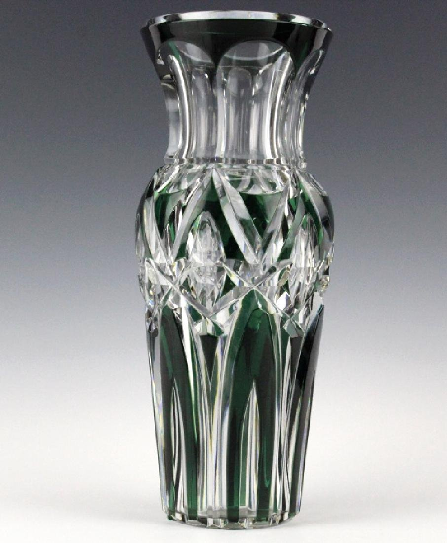 """VAL ST LAMBERT Green Cut to Clear 12"""" Crystal Vase"""