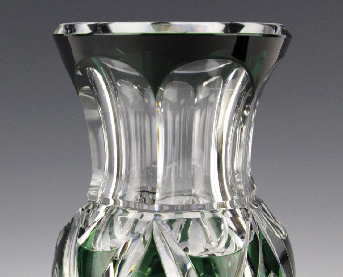 """VAL ST LAMBERT Green Cut to Clear 12"""" Crystal Vase - 3"""