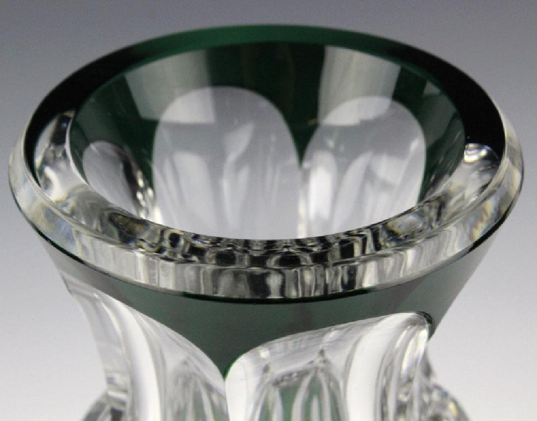 """VAL ST LAMBERT Green Cut to Clear 12"""" Crystal Vase - 4"""