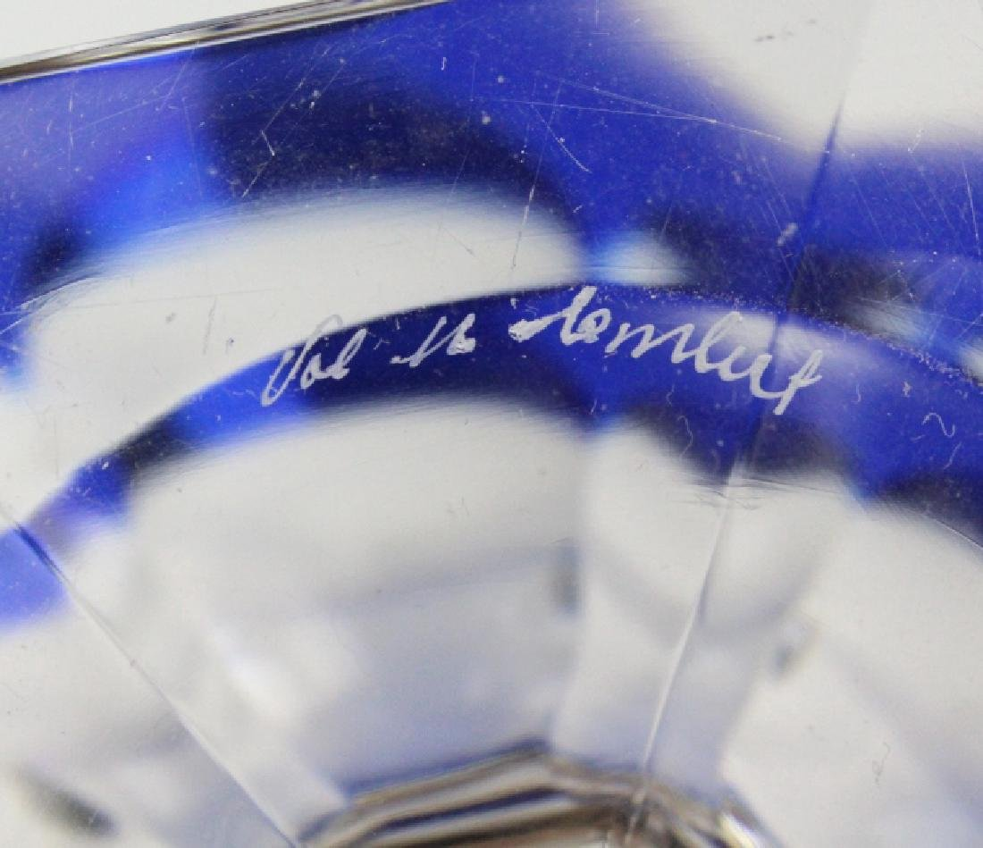VAL ST LAMBERT Cobalt Crystal Footed Candy Bowl - 8