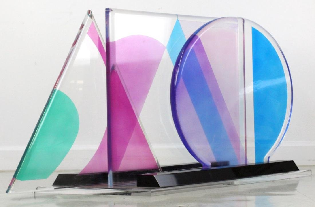 Modern Geometric Colored Lucite Art Sculpture 80's