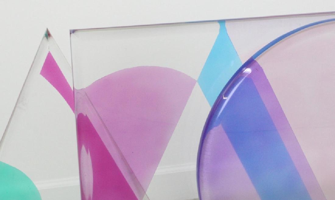 Modern Geometric Colored Lucite Art Sculpture 80's - 2
