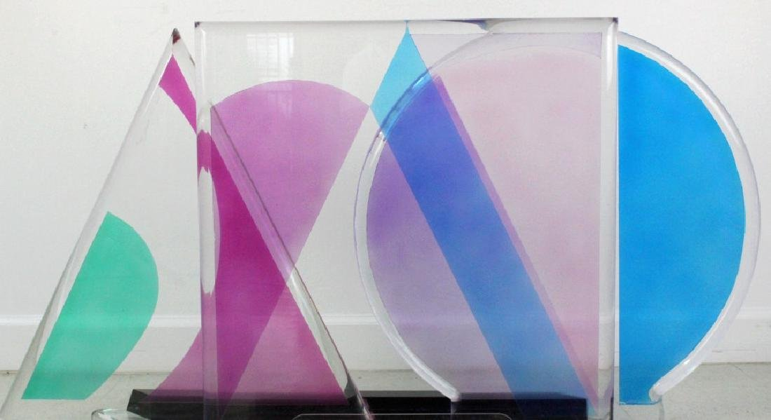 Modern Geometric Colored Lucite Art Sculpture 80's - 5