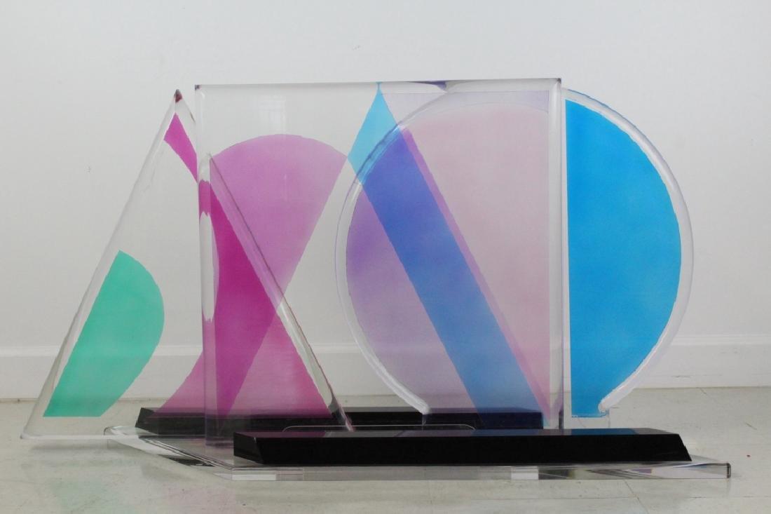 Modern Geometric Colored Lucite Art Sculpture 80's - 6