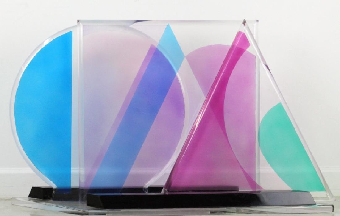Modern Geometric Colored Lucite Art Sculpture 80's - 7
