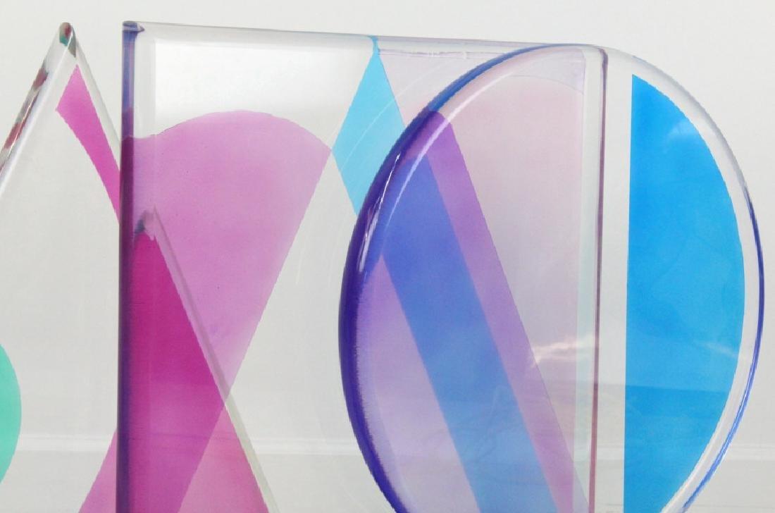 Modern Geometric Colored Lucite Art Sculpture 80's - 8