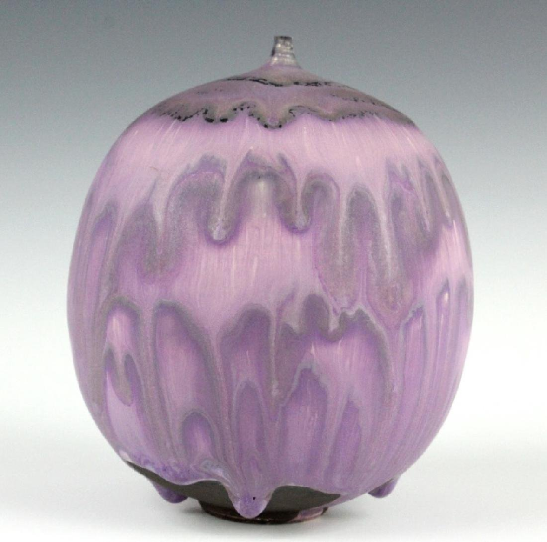 "Rose CABAT Purple Feelie Art Vase 5 1/2"" SIGNED - 8"