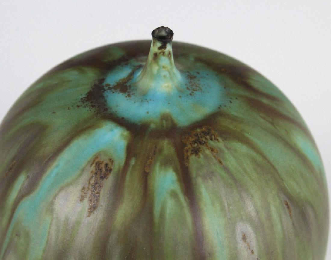 """Rose CABAT Green Feelie Art Vase 5 1/4"""" SIGNED - 2"""
