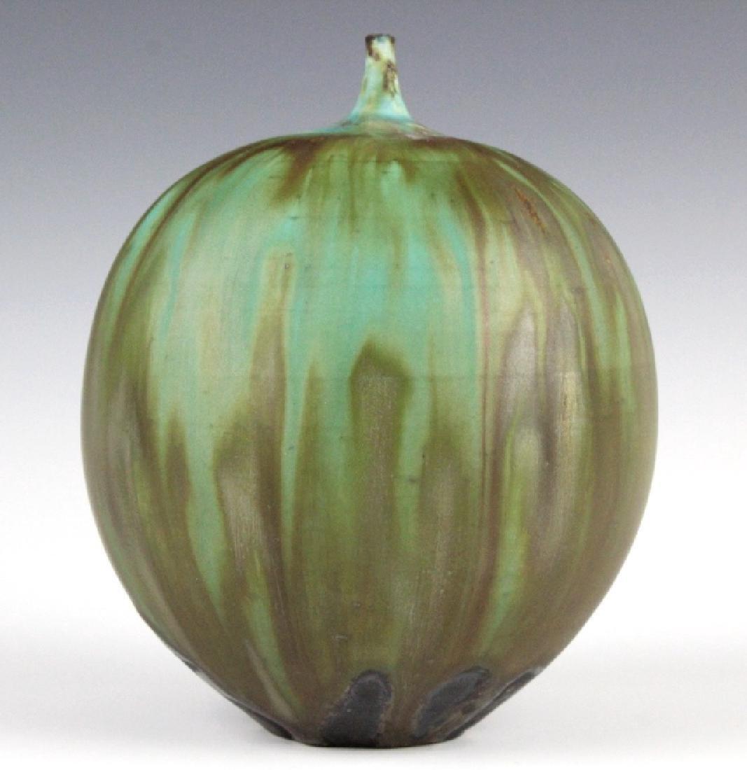 """Rose CABAT Green Feelie Art Vase 5 1/4"""" SIGNED - 4"""