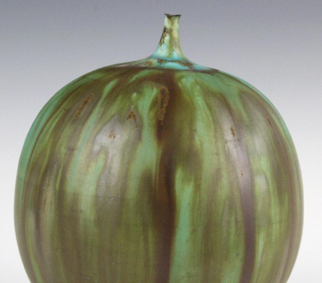 """Rose CABAT Green Feelie Art Vase 5 1/4"""" SIGNED - 5"""