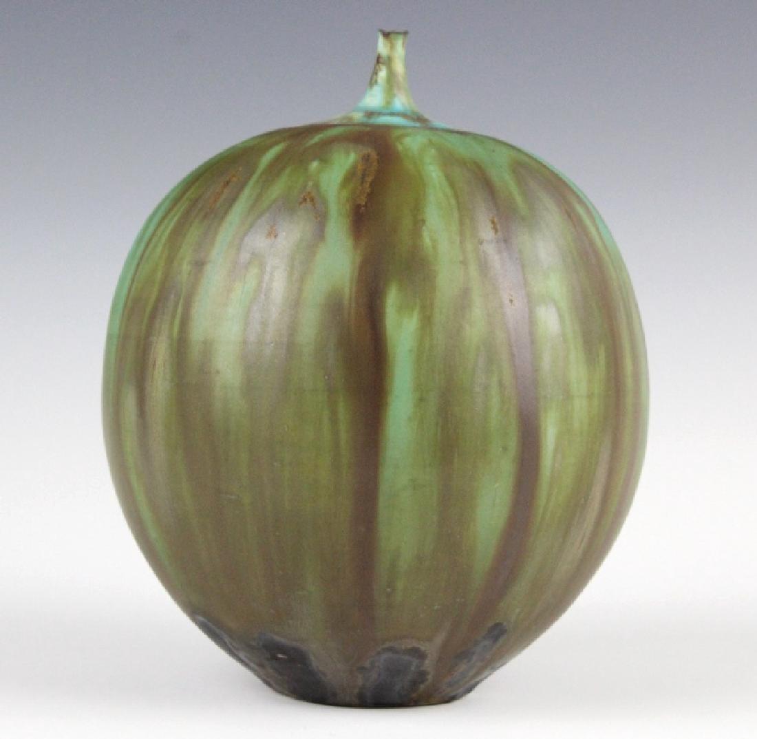 """Rose CABAT Green Feelie Art Vase 5 1/4"""" SIGNED - 6"""