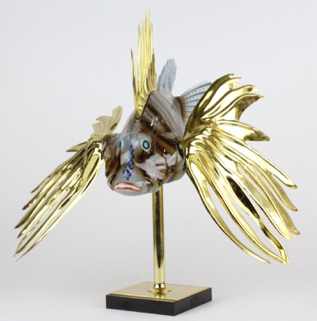 "Oggetti Mangani Lion Fish Porcelain Sculpture 18"""