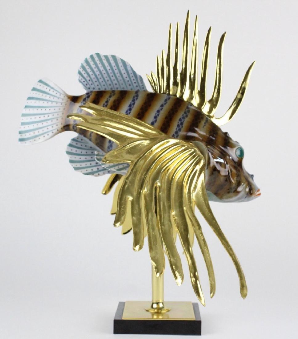 "Oggetti Mangani Lion Fish Porcelain Sculpture 18"" - 4"
