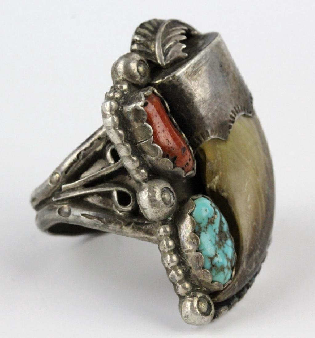 Navajo Indian Bear Claw Coral & Turquoise Ring s12 - 2