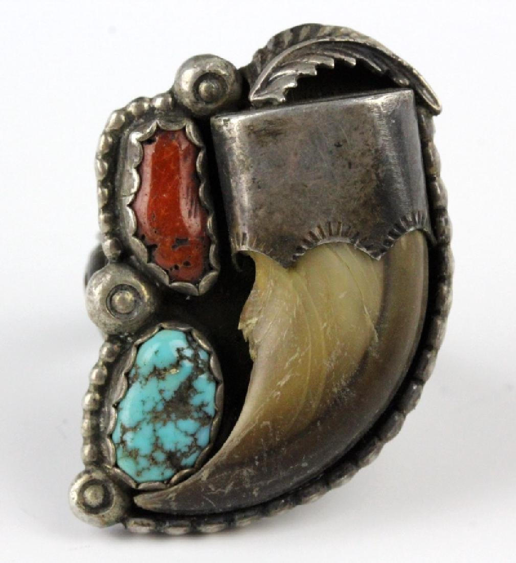 Navajo Indian Bear Claw Coral & Turquoise Ring s12 - 3