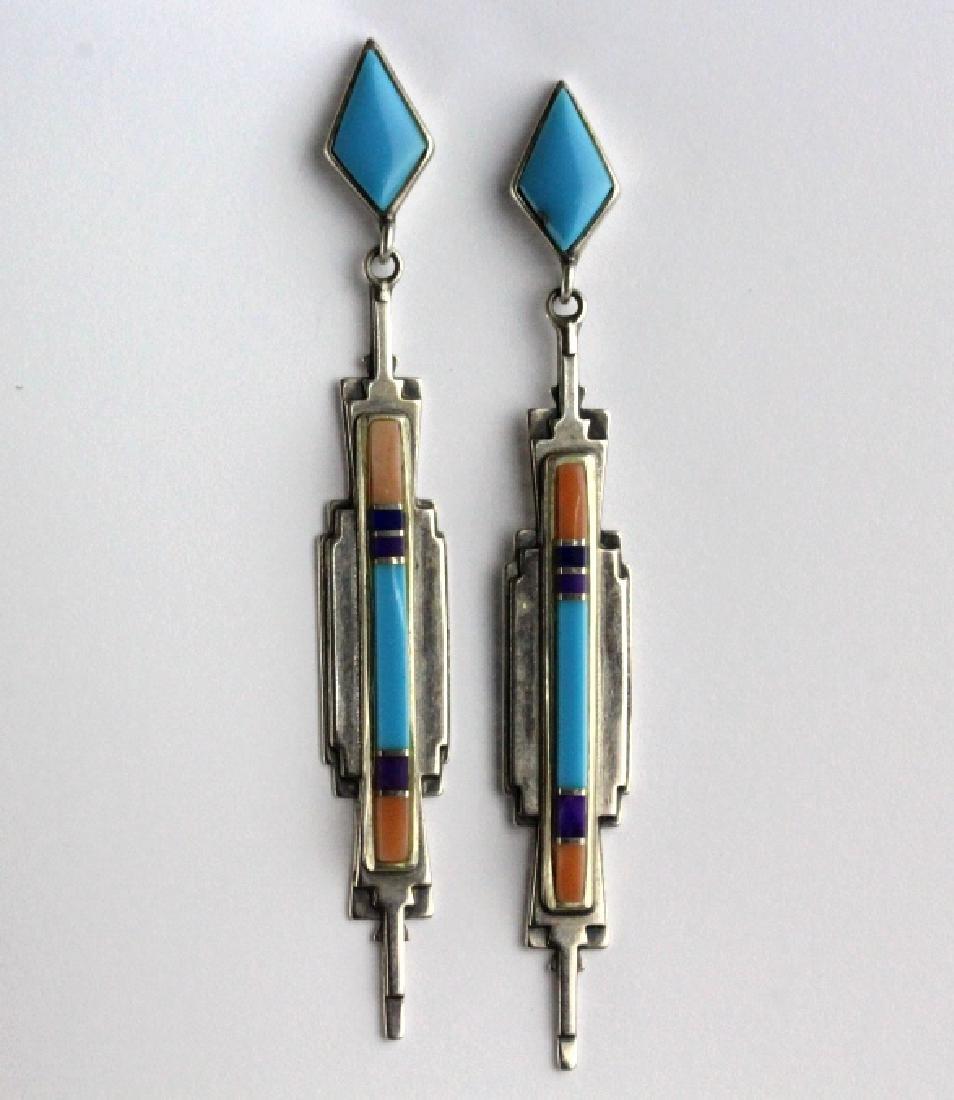 PAIR Sanel B Julian Native American Inlay Earrings