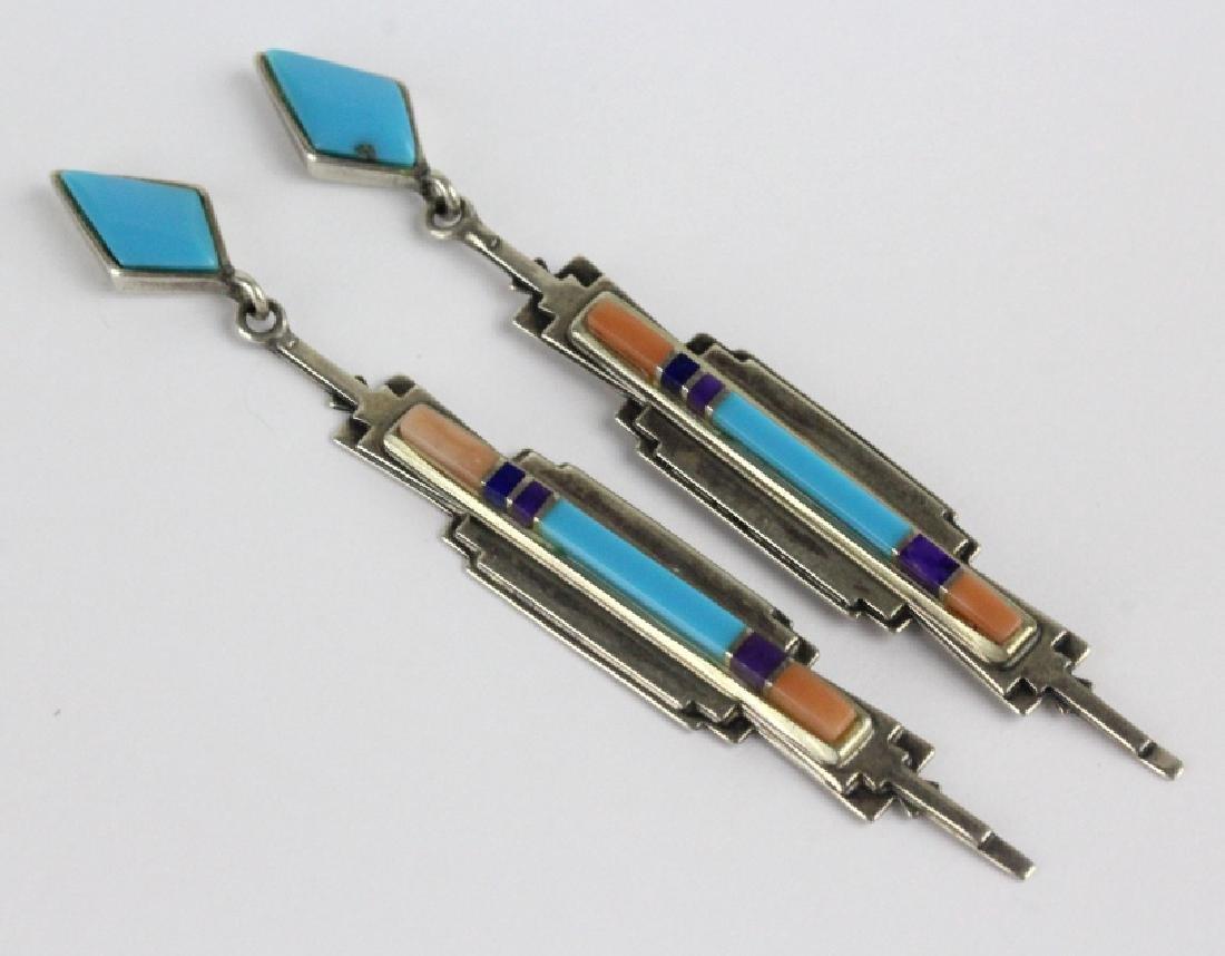 PAIR Sanel B Julian Native American Inlay Earrings - 2