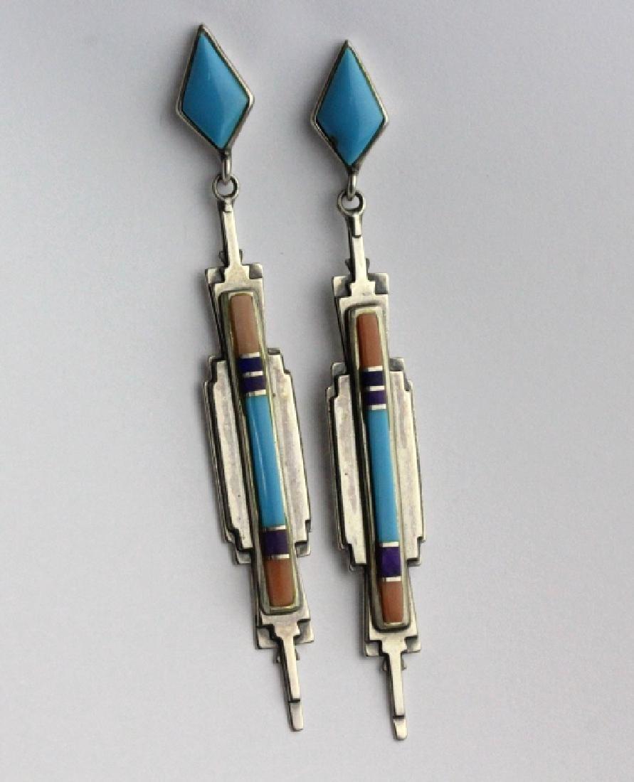PAIR Sanel B Julian Native American Inlay Earrings - 7