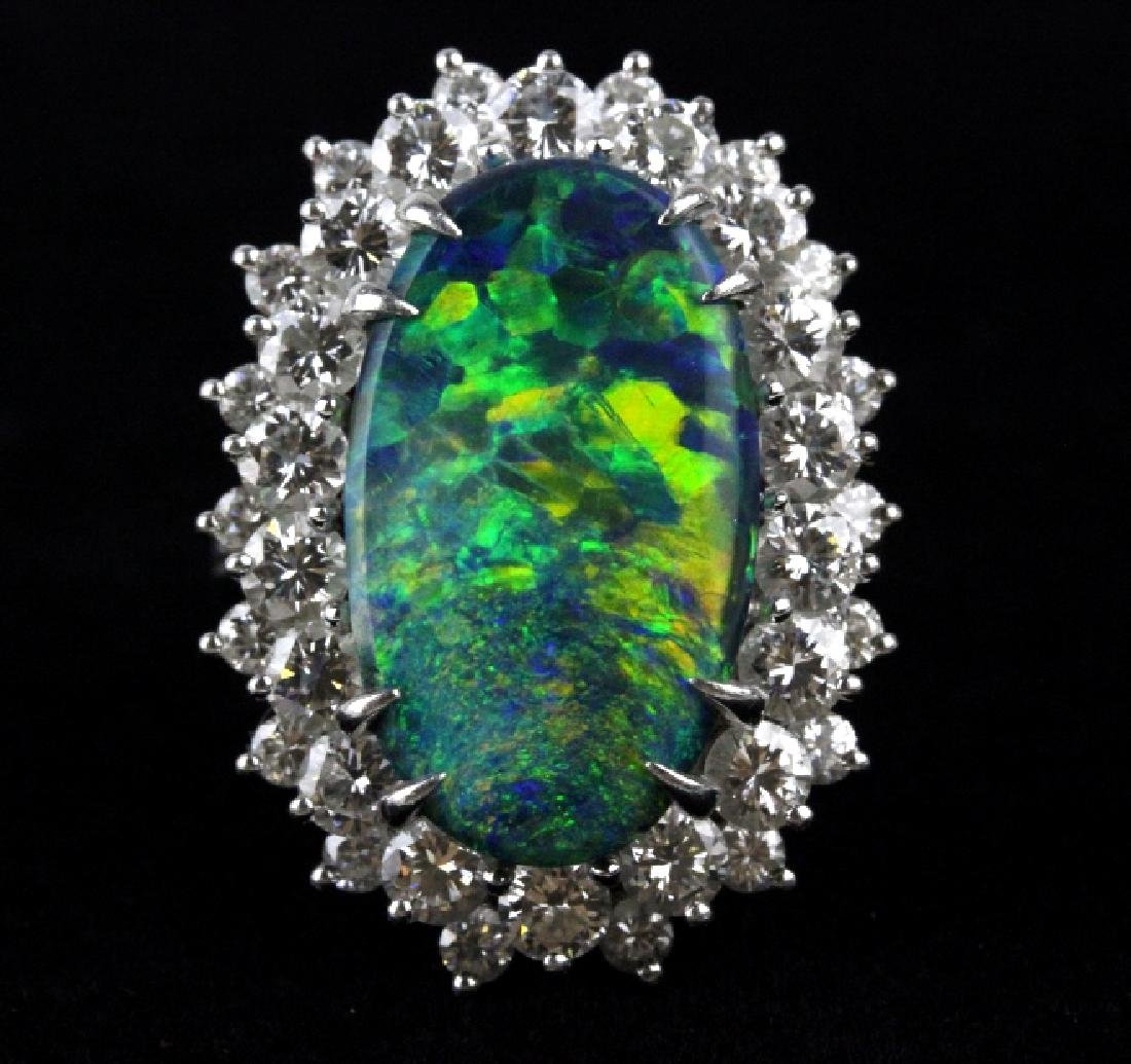 FINE Black Opal 3.25 CT TW Diamond Platinum Ring