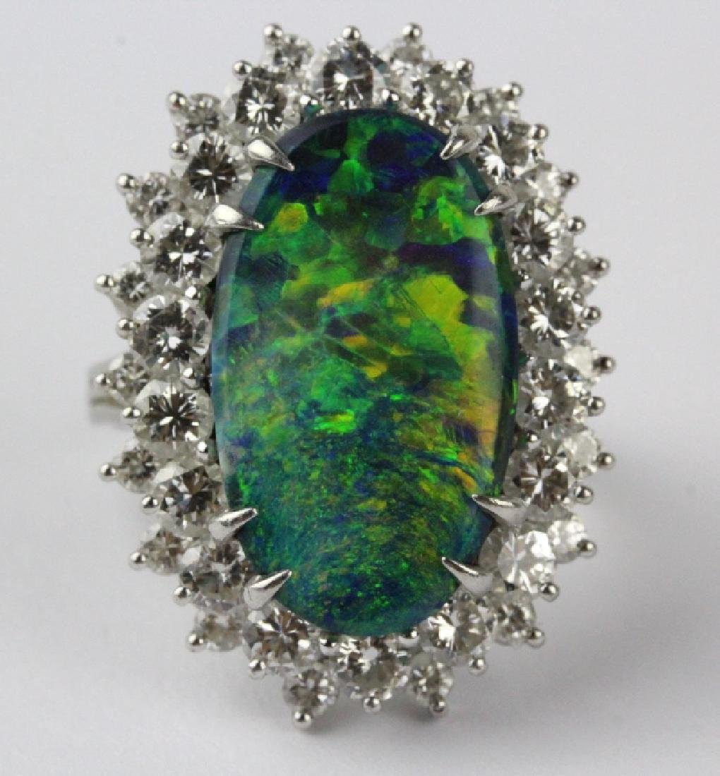 FINE Black Opal 3.25 CT TW Diamond Platinum Ring - 2