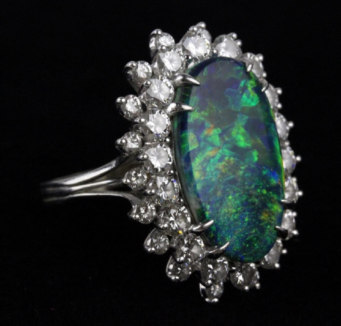 FINE Black Opal 3.25 CT TW Diamond Platinum Ring - 3