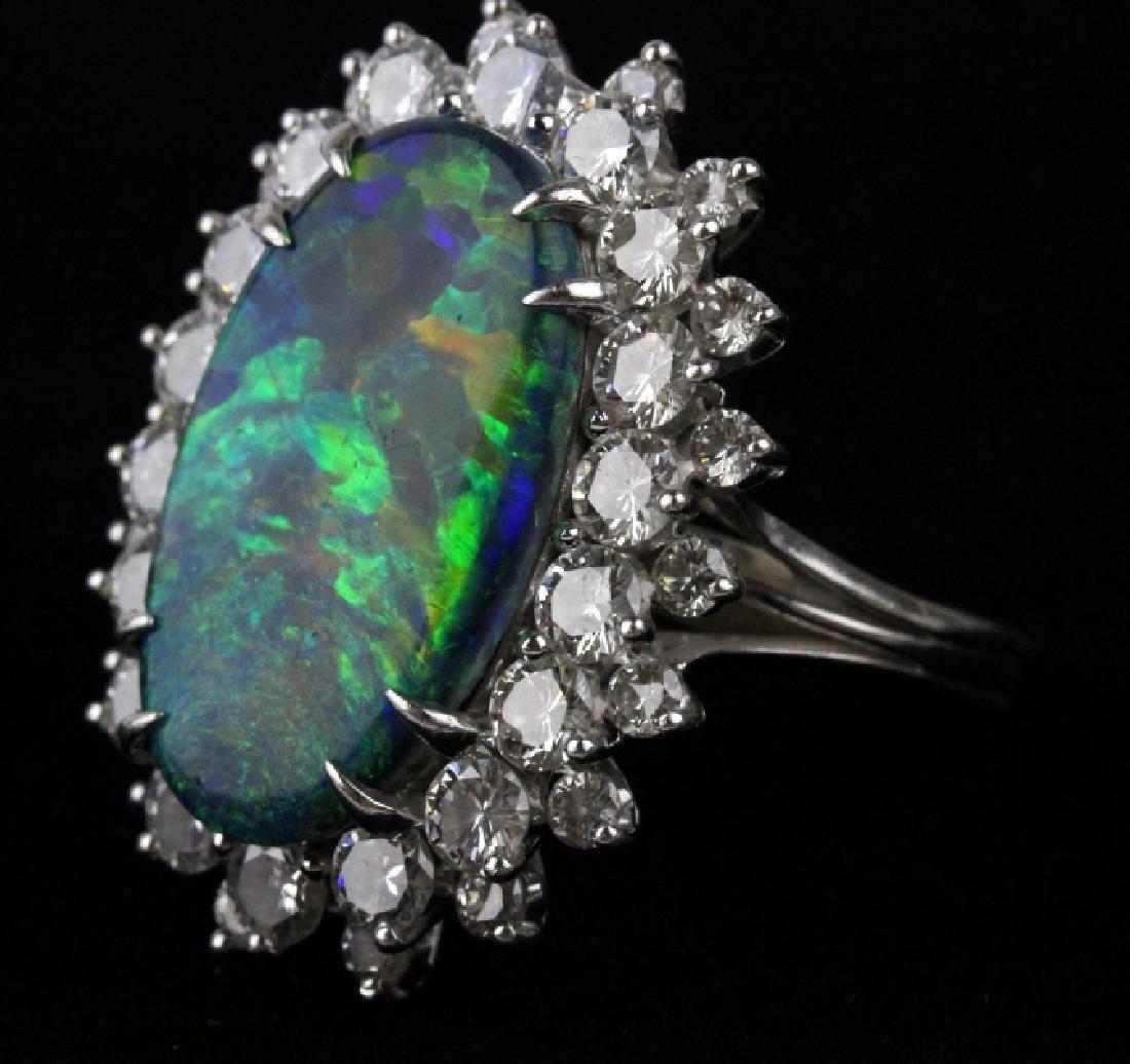 FINE Black Opal 3.25 CT TW Diamond Platinum Ring - 4