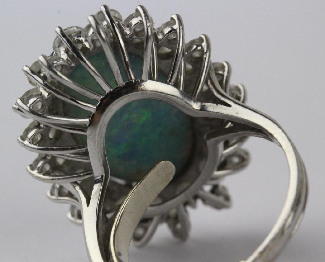 FINE Black Opal 3.25 CT TW Diamond Platinum Ring - 5