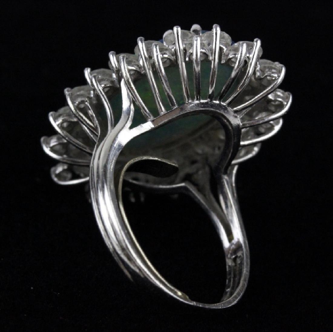 FINE Black Opal 3.25 CT TW Diamond Platinum Ring - 6