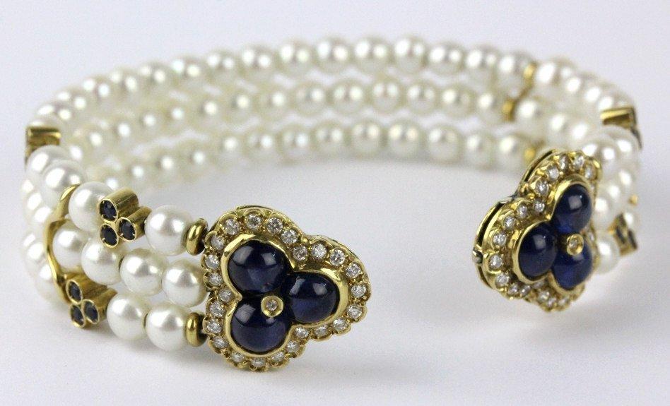 FINE 18k Gold Diamond Sapphire Pearl Cuff Bracelet